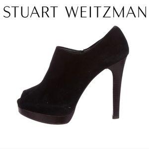 Stuart Weitzman | Black Suade Peep Toe Booties